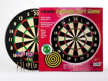 Dartskive komplet med darts, 2.5cm