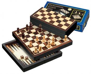 Image of   Skak, backgammon og dam, rejsesæt, magnetisk