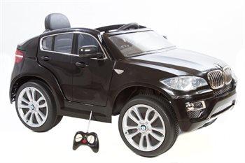 BMW X6 Sort 12V, Fjernbetjening, gummihjul
