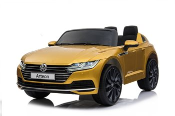 Image of   VW Arteon 12V, paintet yellow, lædersæde og gummihjul