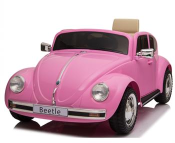 Image of   VW Beetle 12V Classic Pink med fjernbetjening og lædersæde