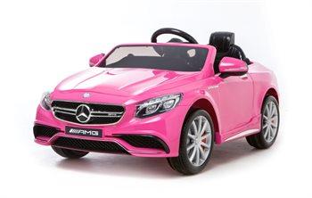 Image of   Mercedes S63 Pink, 12Volt, fjernbetjening, gummihjul