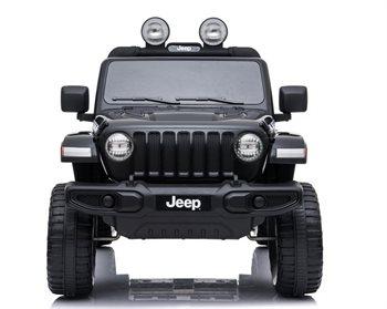 Image of   Jeep Wrangler Rubicon BLACK med 4 x 12V motor, lædersæde og gummihjul.
