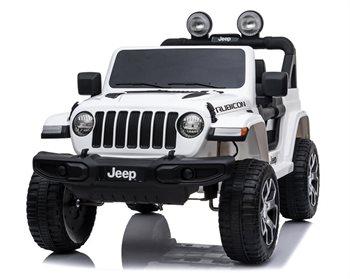 Image of   Jeep Wrangler Rubicon med 4 x 12V motor, lædersæde og gummihjul.