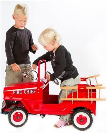 Elitetoys rød pedal Brandbil i metal