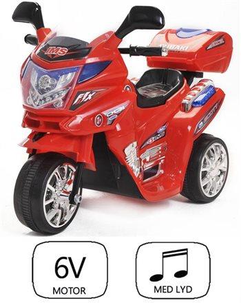 Image of   Azeno 6V Night Rider rød motorcykel